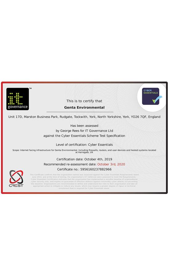 Genta Medical cyber essentials certificate